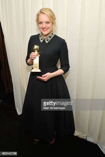 Actor Elisabeth Moss attends the 2018 InStyle and Warner Bros 75th Annual Golden Globe Awards PostParty at The Beverly Hilton Hotel on January 7 2018...