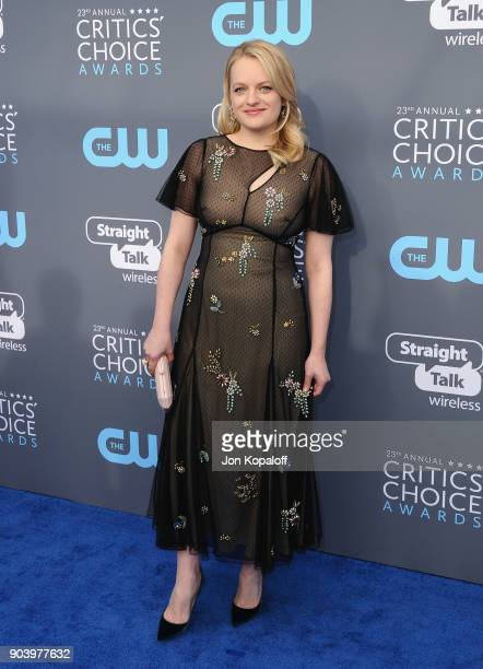 Actor Elisabeth Moss attends The 23rd Annual Critics' Choice Awards at Barker Hangar on January 11 2018 in Santa Monica California