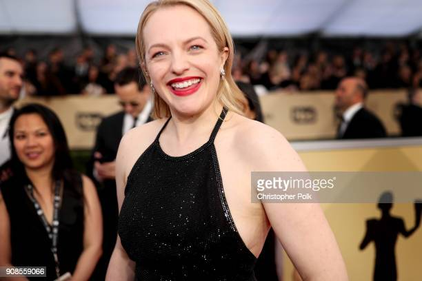 Actor Elisabeth Moss attends the 24th Annual Screen Actors Guild Awards at The Shrine Auditorium on January 21 2018 in Los Angeles California...