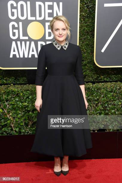 Actor Elisabeth Moss attends The 75th Annual Golden Globe Awards at The Beverly Hilton Hotel on January 7 2018 in Beverly Hills California