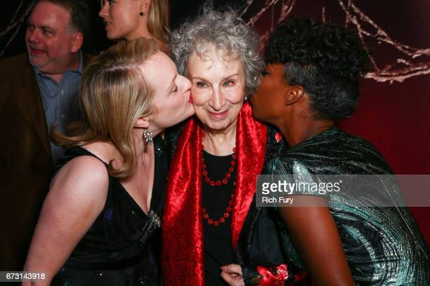 Actor Elisabeth Moss author Margaret Atwood and actor Samira Wiley attend the premiere of Hulu's 'The Handmaid's Tale' at ArcLight Cinemas Cinerama...