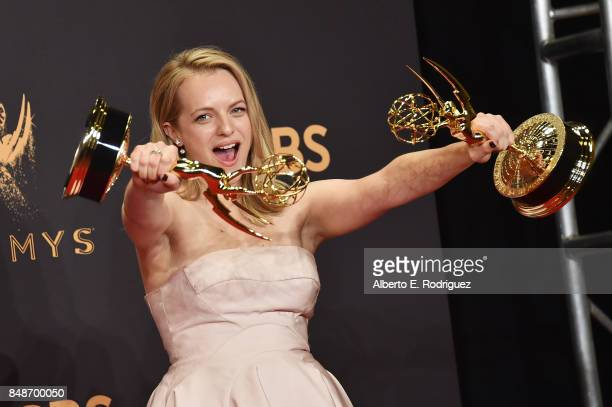 Actor Elisabeth Moss winner of Outstanding Lead Actress in a Drama Series for 'The Handmaid's Tale' poses in the press room during the 69th Annual...