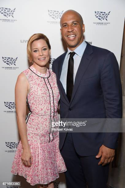 Actor Elizabeth Banks and Honoree United States Senator Cory Booker at The Humane Society of the United States' To the Rescue Los Angeles Gala at...