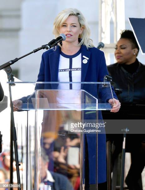 Actor Elizabeth Banks speaks during the Women's March Los Angeles 2018 on January 20 2018 in Los Angeles California