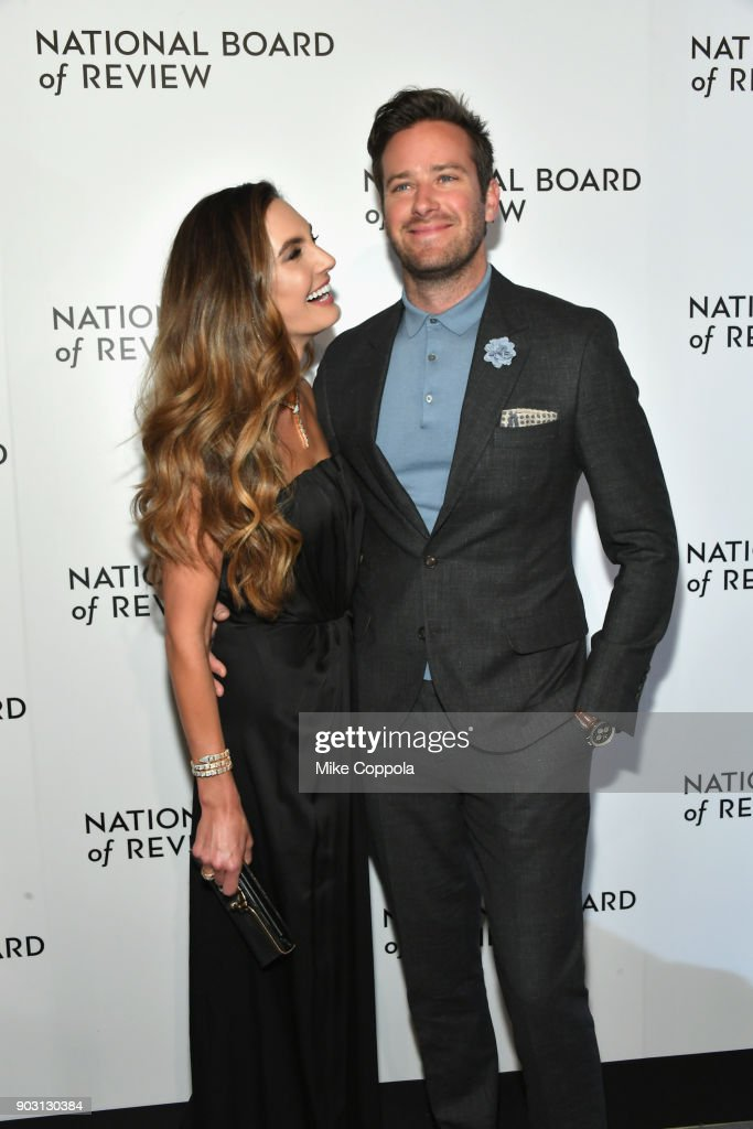 Actor Elizabeth Chambers (L) and Armie Hammer attend the 2018 The National Board Of Review Annual Awards Gala at Cipriani 42nd Street on January 9, 2018 in New York City.