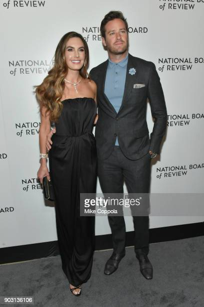 Actor Elizabeth Chambers and Armie Hammer attend the 2018 The National Board Of Review Annual Awards Gala at Cipriani 42nd Street on January 9 2018...