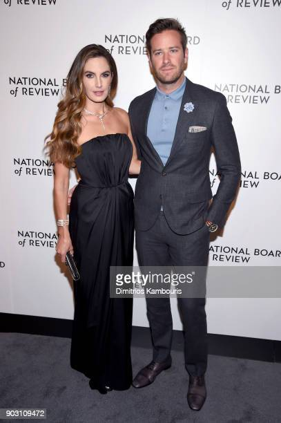 Actor Elizabeth Chambers and Armie Hammer attend The National Board Of Review Annual Awards Gala at Cipriani 42nd Street on January 9 2018 in New...