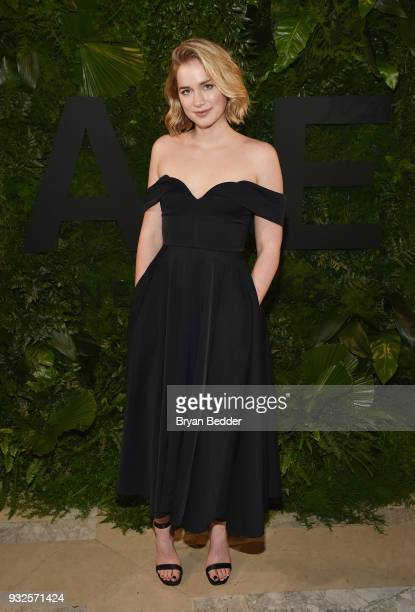 Actor Elizabeth Lail attends the 2018 AE Upfront on March 15 2018 in New York City