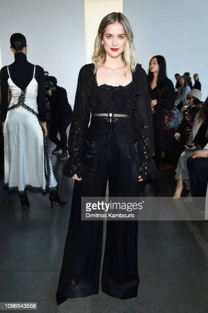 Actor Elizabeth Lail attends the SelfPortrait front row during New York Fashion Week The Shows at Gallery I at Spring Studios on February 9 2019 in...