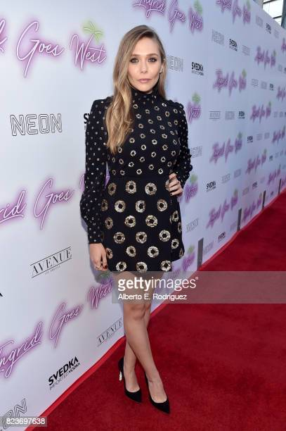 """Actor Elizabeth Olsen at the premiere of Neon's """"Ingrid Goes West"""" at ArcLight Hollywood on July 27, 2017 in Hollywood, California."""