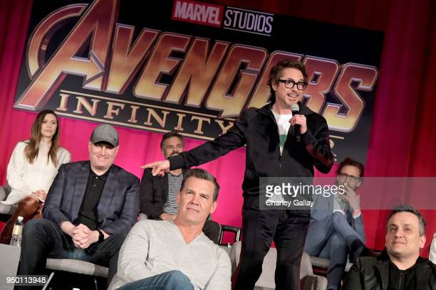 Actor Elizabeth Olsen President of Marvel Studios and Producer Kevin Feige actors Mark Ruffalo Josh Brolin Robert Downey Jr and Tom Hiddleston and...