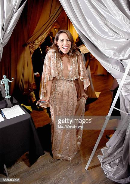 Actor Elizabeth Rodriguez winner of the Outstanding Ensemble in a Comedy Series award of 'Orange Is the New Black' backstage during The 23rd Annual...