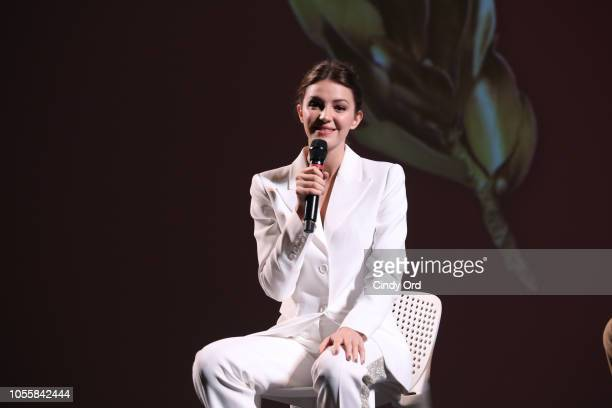 Actor Ella Hunt speaks onstage during the 'Anna and the Apocalypse' Q&A at the 21st SCAD Savannah Film Festival on October 31, 2018 in Savannah,...