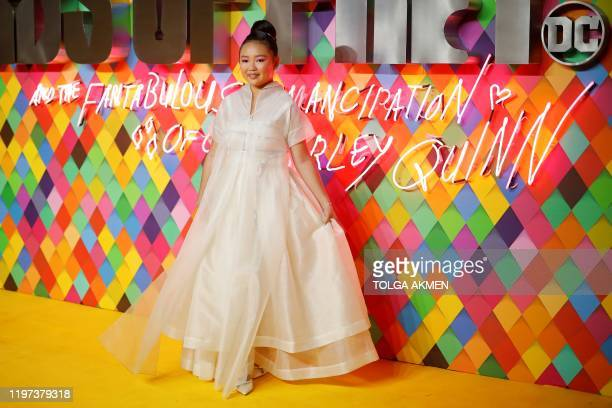 US actor Ella Jay Basco poses on the red carpet upon arrival for the World Premiere of the film 'Birds of Prey' in London on January 29 2020