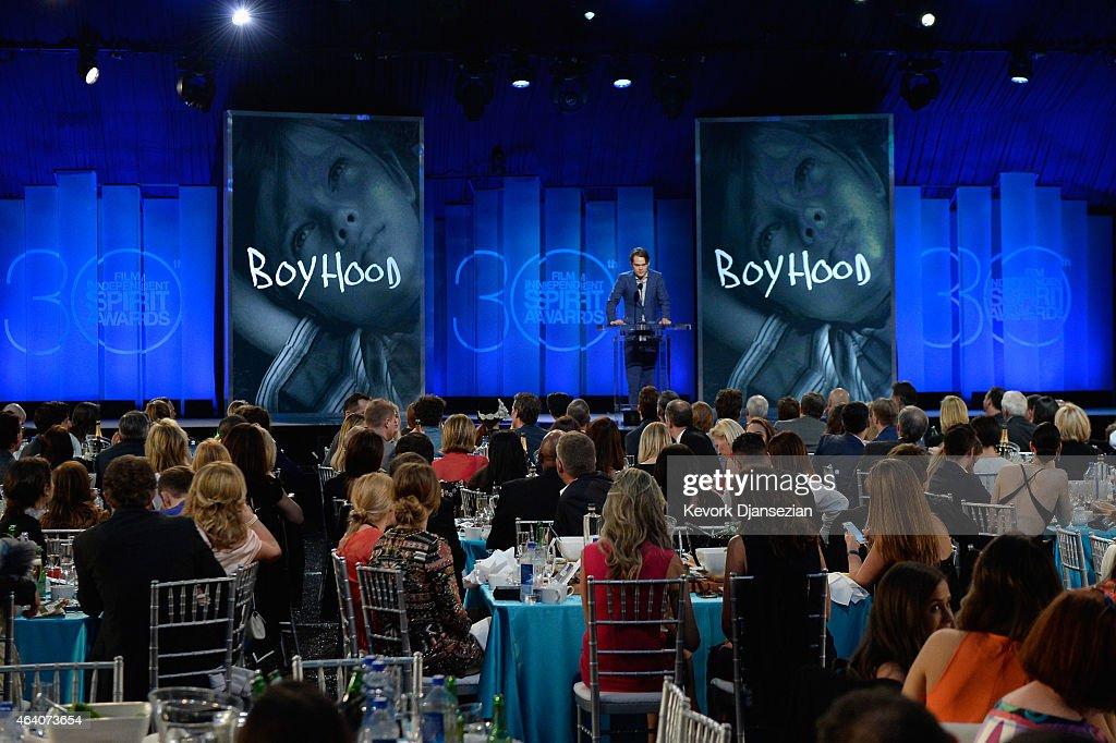 Actor Ellar Coltrane speaks onstage during the 2015 Film Independent Spirit Awards at Santa Monica Beach on February 21, 2015 in Santa Monica, California.