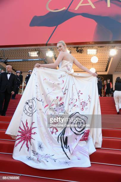 Actor Elle Fanning attends the 'Ismael's Ghosts ' screening and Opening Gala during the 70th annual Cannes Film Festival at Palais des Festivals on...