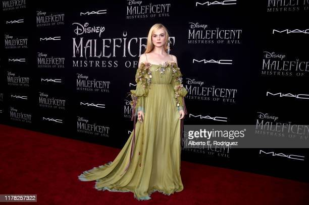 """Actor Elle Fanning attends the World Premiere of Disney's """"Maleficent: Mistress of Evil"""" at the El Capitan Theatre on September 30, 2019 in..."""