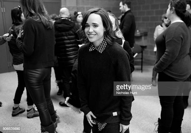 Image converted to black & white) Actor Ellen Page attends 'Tallulah' Premiere during the 2016 Sundance Film Festival at Eccles Center Theatre on...