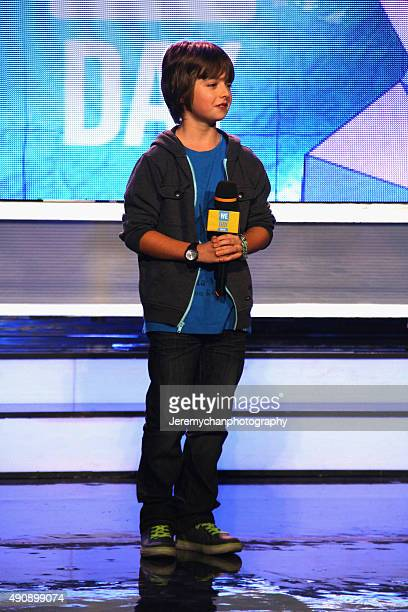 Actor Elliot MivilleDeschênes speaks during WE Day Toronto at the Air Canada Centre on October 1 2015 in Toronto Canada