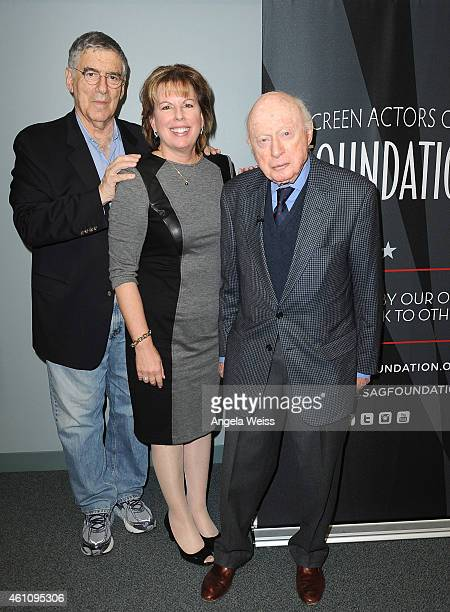 Actor Elliott Gould executive director of SAGAFTRA Ilyanne Morden Kichaven and actor Norman Lloyd attend the Career Reflection with Norman Lloyd at...