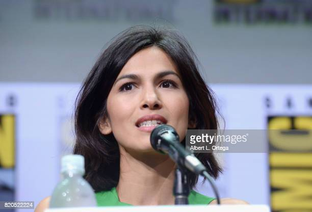 Actor Elodie Yung speaks onstage at Netflix's 'The Defenders' panel during ComicCon International 2017 at San Diego Convention Center on July 21 2017...