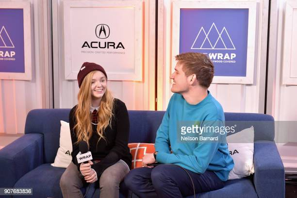 Actor Elsie Fisher and director Bo Burnham of 'Eighth Grade' attend the Acura Studio at Sundance Film Festival 2018 on January 20 2018 in Park City...
