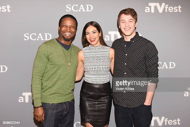 Actor Elvis Nolasco Actress Angelique Rivera and Actor Connor Jessup attend the American Crime event during aTVfest 2016 presented by SCAD on...