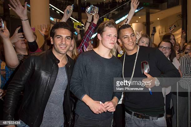 Actor Elyas M'Barek actor Max von der Groeben and Rapper Farid Bang attend the 'Fack ju Goehte 2' Cinema Tour at the Cinedom on September 12 2015 in...