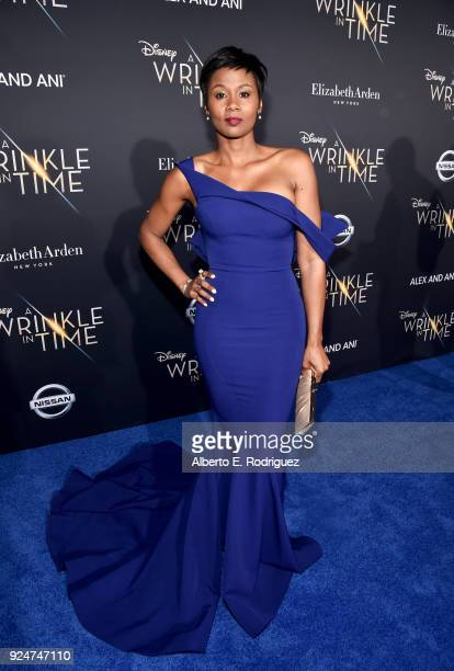 Actor Emayatzy Corinealdi arrives at the world premiere of Disney's 'A Wrinkle in Time' at the El Capitan Theatre in Hollywood CA Feburary 26 2018
