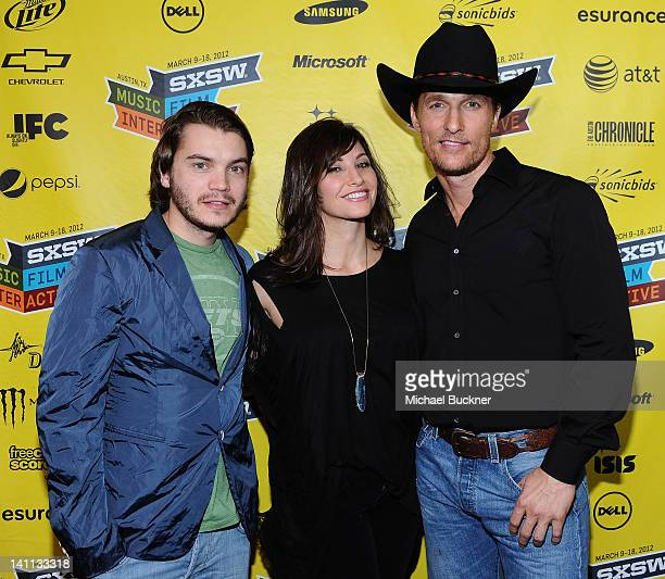 Actor Emile Hirsch actress Gina Gershon and actor Matthew McConaughey attend the US Premiere of 'Killer Joe' during the 2012 SXSW Music Film...