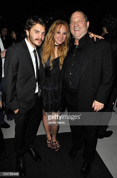 Actor Emile Hirsch actress Juno Temple and producer Harvey Weinstein at the smartwater CAA party on the vitaminwater Rooftop on September 11 2011 in...