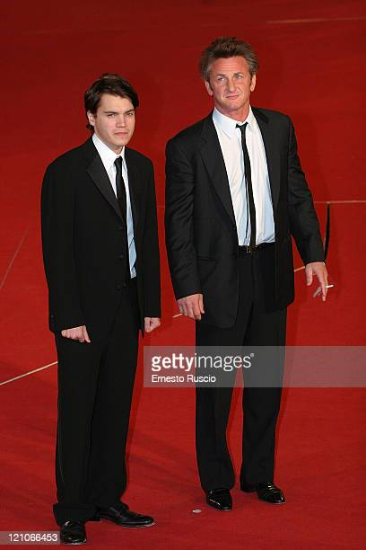 Actor Emile Hirsch and actor and director Sean Penn and arrive at the premiere of Into The Wild at the Auditorium of Rome during the 2nd Rome Film...