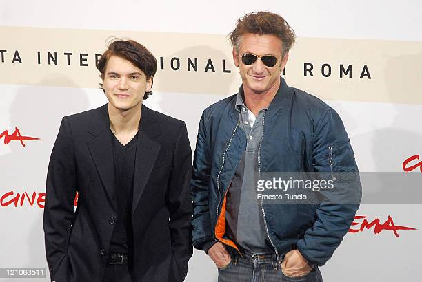 Actor Emile Hirsch and actor and director Sean Penn arrives at the Photocall of Into The Wild at the Auditorium of Rome during the 2nd Rome Film...