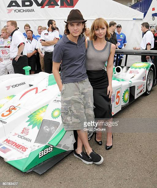 "Actor Emile Hirsch and actress Christina Ricci at the ""Speed Racer"" cast photo shoot on the streets of Long Beach on April 19, 2008 in Long Beach,..."