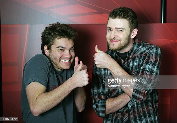 Actor Emile Hirsch and singer Justin Timberlake appear on AOL Unscripted at the Meyer Gallery during the Sundance Film Festival January 24 2006 in...