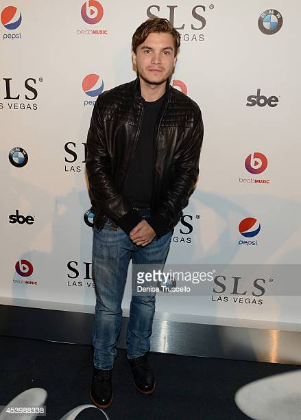 Actor Emile Hirsch attends the SLS Las Vegas grand opening celebration on August 22 2014 in Las Vegas Nevada