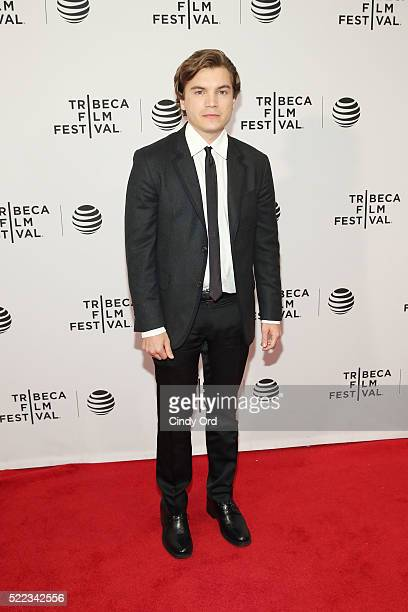 Actor Emile Hirsch attends the Vincent N Roxxy Premiere during the 2016 Tribeca Film Festival at Chelsea Bow Tie Cinemas on April 18 2016 in New York...