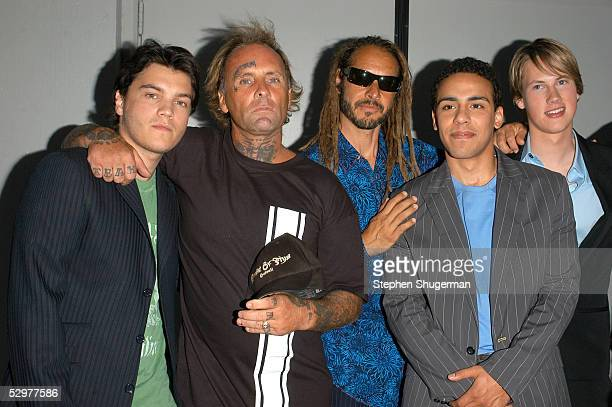 """Actor Emile Hirsch, Original Z-Boys pro-skater Jay Adams, Tony Alva, Victor Rasuk and John Robinson arrive at the Premiere of TriStar Pictures """"Lords..."""