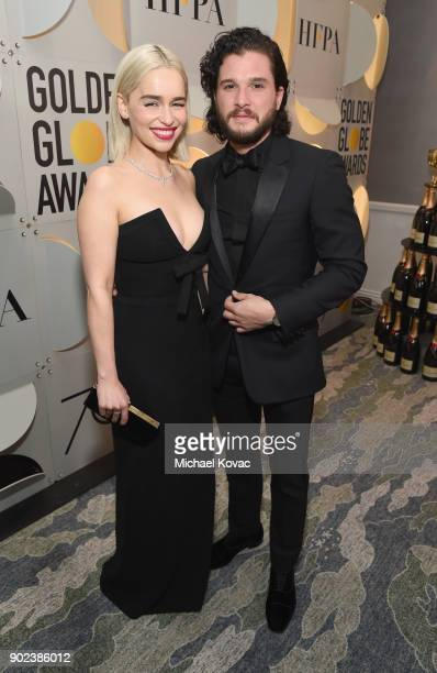 Actor Emilia Clarke and Kit Harington celebrate The 75th Annual Golden Globe Awards with Moet Chandon at The Beverly Hilton Hotel on January 7 2018...