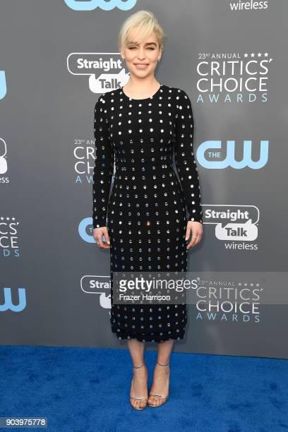 Actor Emilia Clarke attends The 23rd Annual Critics' Choice Awards at Barker Hangar on January 11 2018 in Santa Monica California