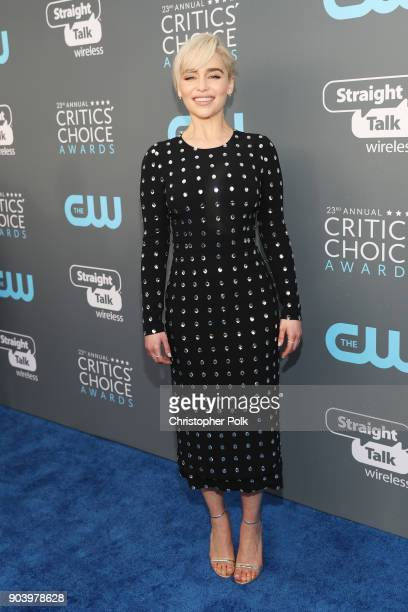 Actor Emilia Clarke attends The 23rd Annual Critics' Choice Awards at Barker Hangar on January 11 2018 in Santa Monica California