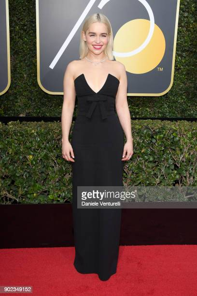 Actor Emilia Clarke attends The 75th Annual Golden Globe Awards at The Beverly Hilton Hotel on January 7 2018 in Beverly Hills California