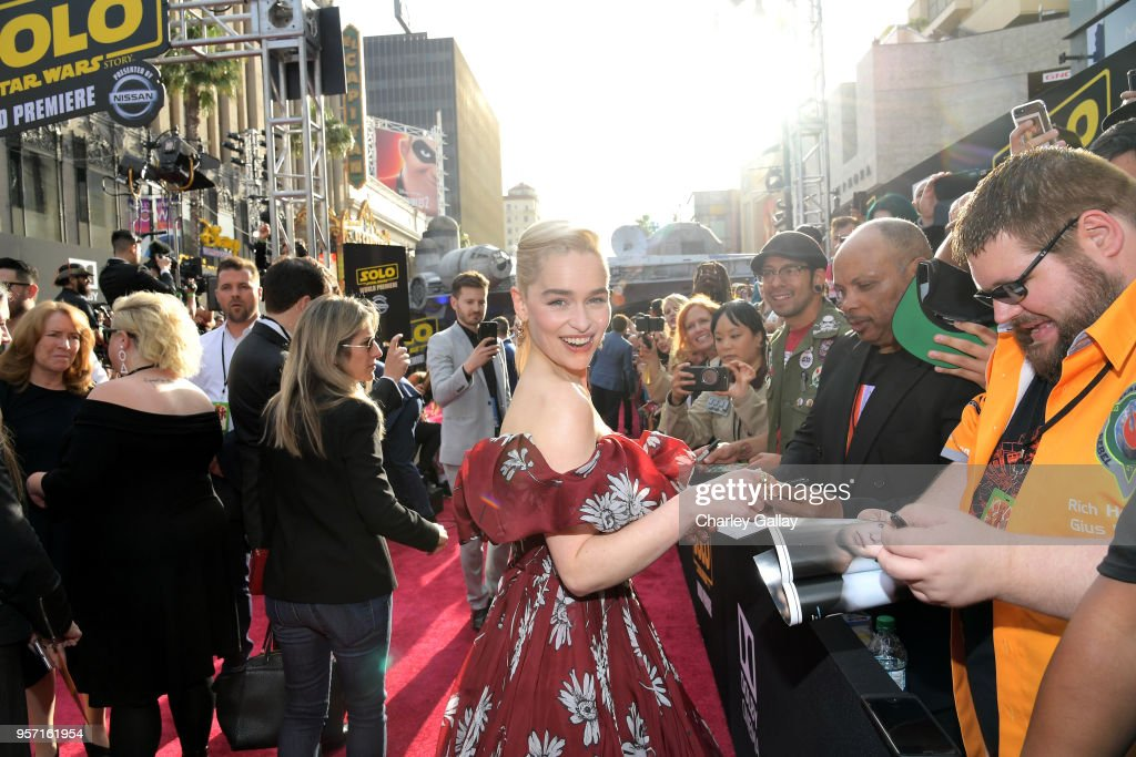 """Actor Emilia Clarke attends the world premiere of """"Solo: A Star Wars Story"""" in Hollywood on May 10, 2018."""