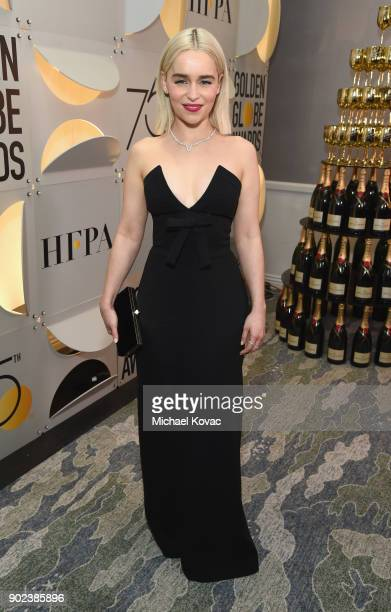 Actor Emilia Clarke celebrates The 75th Annual Golden Globe Awards with Moet Chandon at The Beverly Hilton Hotel on January 7 2018 in Beverly Hills...