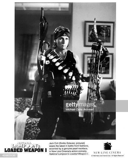 Actor Emilio Estevez on set of the New Line Cinema movie 'Loaded Weapon 1' circa 1993