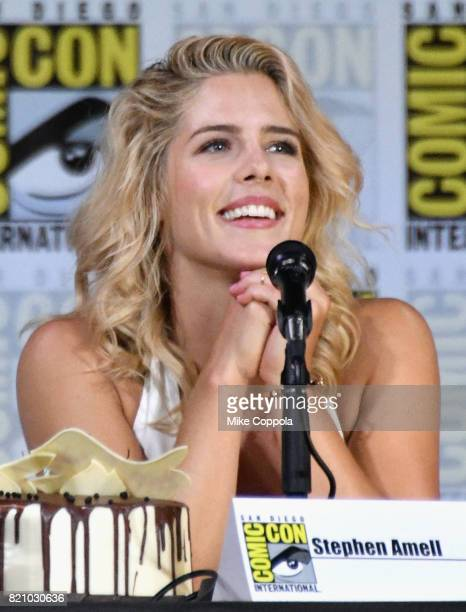 Actor Emily Bett Rickards attends the Arrow Video Presentation And QA during ComicCon International 2017 at San Diego Convention Center on July 22...