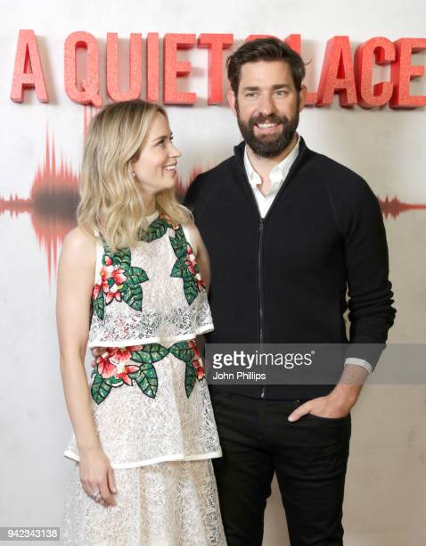 Actor Emily Blunt and actor and director John Krasinski attend 'A Quiet Place' screening at the Curzon Soho on April 5 2018 in London England
