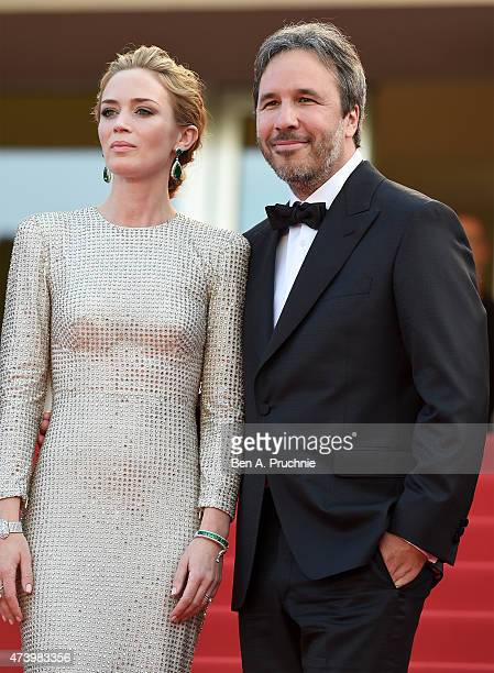 Actor Emily Blunt and director Denis Villeneuve attend the 'Sicario' Premiere during the 68th annual Cannes Film Festival on May 19 2015 in Cannes...