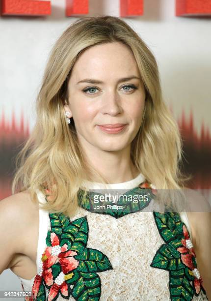 "Actor Emily Blunt attends ""A Quiet Place"" screening at the Curzon Soho on April 5, 2018 in London, England."
