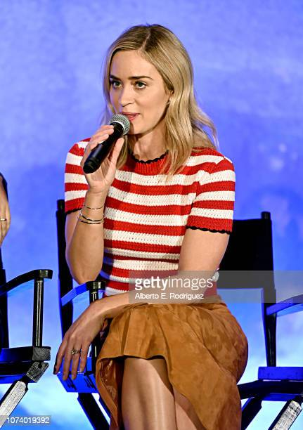Actor Emily Blunt onstage during Disney's Mary Poppins Returns press conference at the Montage Beverly Hills on November 28 2018 in Los Angeles...